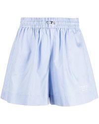 Iceberg High-waisted Stripe Shorts - Blue
