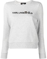 Karl Lagerfeld Sweat à logo brodé - Gris
