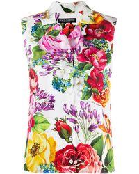 Dolce & Gabbana - Floral-print Sleeveless Blouse - Lyst