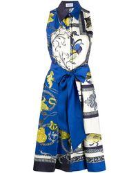 Ferragamo Платье Elisabeth С Принтом - Синий