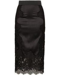 Dolce & Gabbana Юбка С Высокой Посадкой С Отделкой Кружевом - Черный