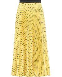 Miu Miu Flower Print Pleated Skirt - Yellow