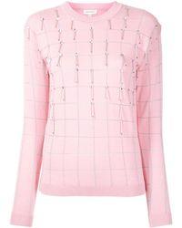 Delpozo Embellished Embroidered Check Jumper - Pink