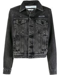 Off-White c/o Virgil Abloh Washed Effect Denim Jacket - Black