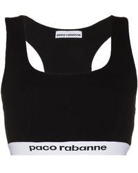 Paco Rabanne ロゴバンド スポーツブラ - ブラック