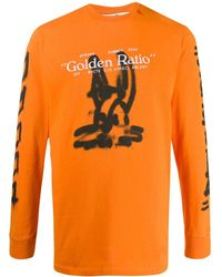 Off-White c/o Virgil Abloh T-shirt Met Print - Oranje