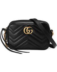 Gucci Маленькая Стеганая Сумка На Плечо 'GG Marmont' - Черный