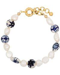 Brinker & Eliza Aurora Gold-plated Pearl Anklet - Blue