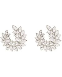Kenneth Jay Lane Silver-tone Crystal Clip Earrings - Metallic