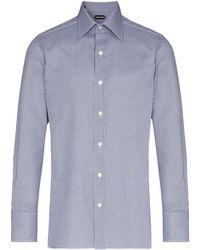 Tom Ford チェック シャツ - ブルー