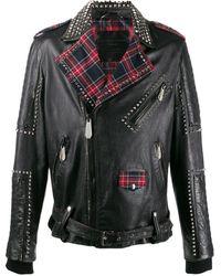Philipp Plein Байкерская Куртка На Клетчатой Подкладке - Черный