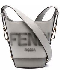 Fendi Сумка-ведро С Тисненым Логотипом - Серый