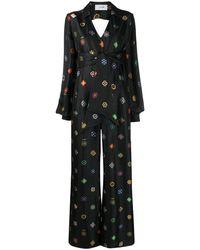 Kirin Geometric Print Cut-out Jumpsuit - Black