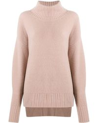 N.Peal Cashmere Chunky Roll Neck Cashmere Jumper - Pink
