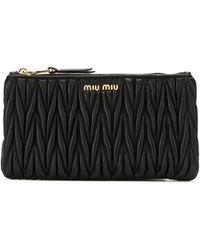 Miu Miu Continentaal Portemonnee Van Matelass� - Zwart