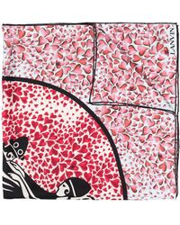 Lanvin ハートプリント スカーフ - ピンク