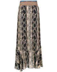 Amir Slama Printed Long Skirt - Zwart