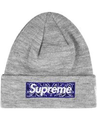 Supreme X New Era Bandana Box Logo Beanie - Grey