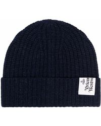 Vivienne Westwood Logo-patch Knitted Beanie - Blue