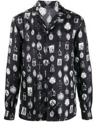 Dolce & Gabbana Pajama Shirt With Medal Print - Black
