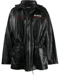 Balenciaga Blncg Leather Parka - Black