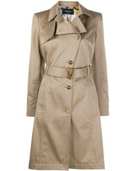 Versace Asymmetric Fastening Trench Coat - Natural