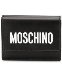 Moschino Porte-cartes à logo imprimé - Noir