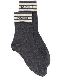 Sandro ストライプ ロゴ 靴下 - グレー