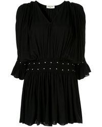 Saint Laurent - Платье Со Сборками И Заклепками - Lyst