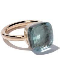 Pomellato - 18kt Rose & White Gold Nudo Light Blue Topaz Ring - Lyst