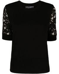 Dolce & Gabbana レースディテール ニットトップ - ブラック