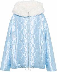 Miu Miu フーデッド キルティングジャケット - ブルー