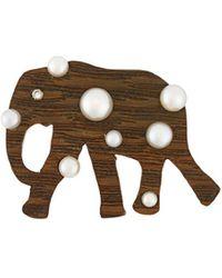 Marc Alary Polka Dot Elephant Pendant - Brown