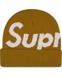 Supreme Beanie mit großem Logo - Gelb