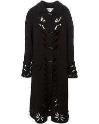 Dior Удлиненное Пальто С Вырезными Деталями - Черный