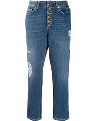 Dondup Cropped-Jeans mit Patches - Blau