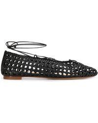 Francesco Russo Woven Lace-up Ballerina Shoes - Black