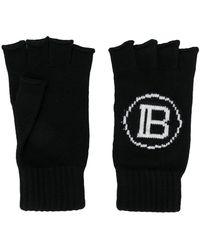 Balmain ロゴ フィンガーレス手袋 - ブラック