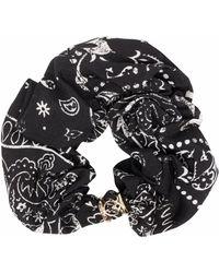 Pinko Bandana-print Hair Scrunchie - Black