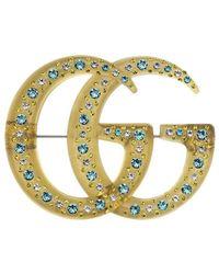 Gucci Broche Met Dubbele G En Kristallen - Meerkleurig