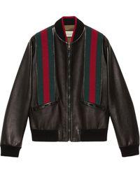 Gucci グッチウェブ ストライプ レザー ボンバージャケット - ブラック