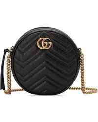 Gucci - GG Marmont Mini Round Chevron Crossbody Bag - Lyst