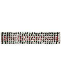 Gucci Kopfband mit Webstreifen und Kristallen - Rot