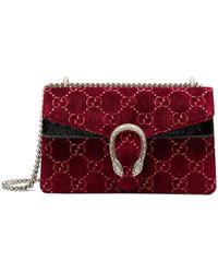 Gucci Red Dionysus GG Velvet Small Shoulder Bag