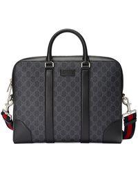 Gucci GG Supreme Briefcase - Zwart
