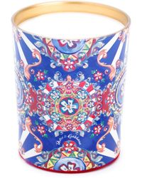 Dolce & Gabbana Carretto Siciliano Print Candle - Blue