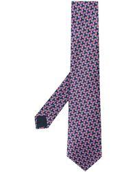 Lanvin Cravate à motif géométrique - Bleu