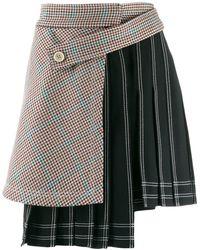 Off-White c/o Virgil Abloh Houndstooth Panel Pinstriped Skirt - Black