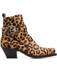 Versace Ботинки С Леопардовым Принтом - Коричневый