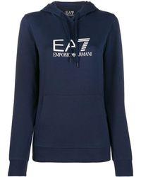 EA7 ロゴ スウェットパーカー - ブルー